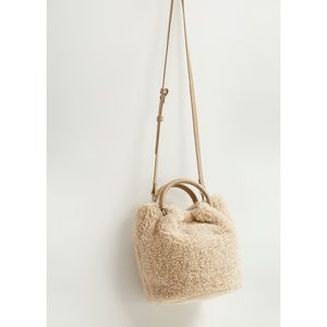 Mango Faux Shearling Bucket Bag